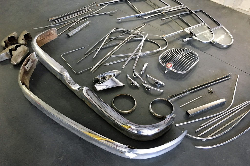 Photo of customers Jaguar classic car parts for chroming.