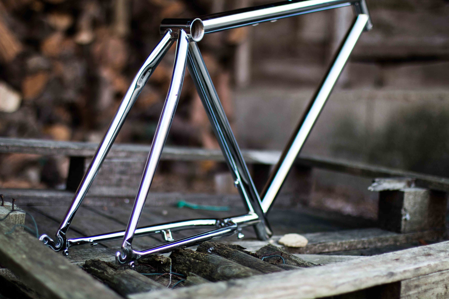Picture of a bicycle frame finished in chrome.