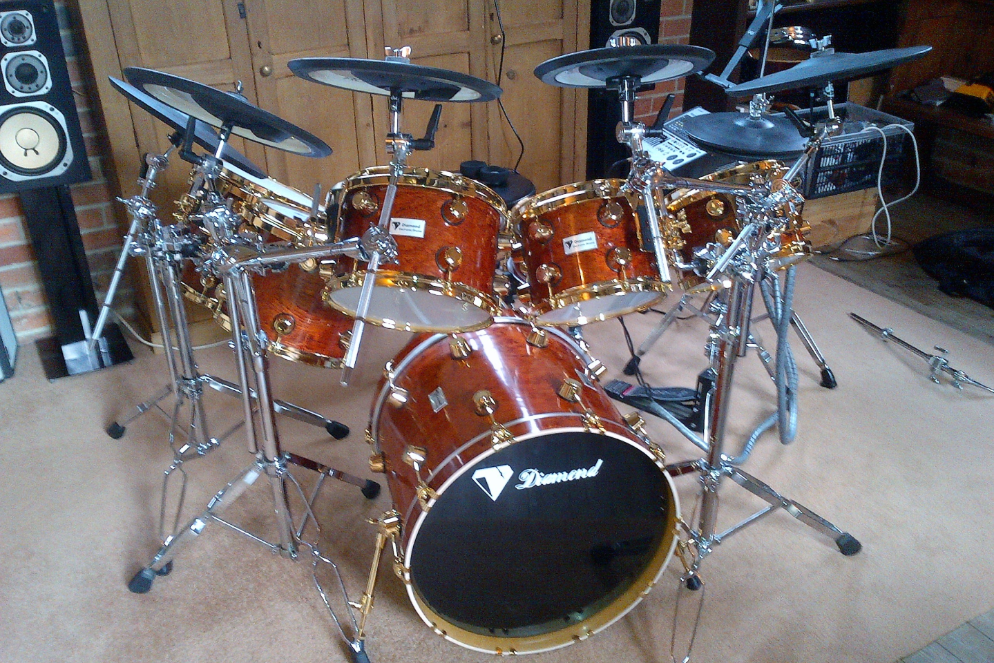 Picture of a drum kit chrome plated.