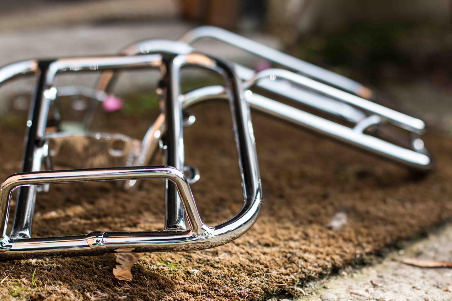 Picture of a rechromed scooter rack.