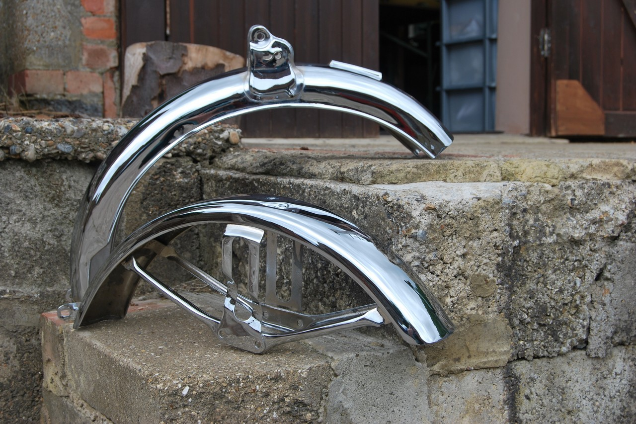 Example of our work - completed motorcycle parts in chrome plate.