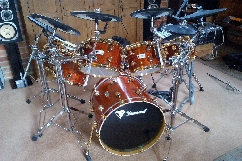 Actual photo of drum kit restored and rechromed.
